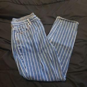 Railroad stripe mom jeans